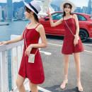 Dress Summer of 2019 claret S,M,L,XL Short skirt singleton  Sleeveless commute One word collar High waist Solid color Socket A-line skirt camisole 18-24 years old Type A Korean version Pocket, button, zipper