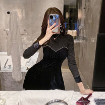 Dress Winter 2020 black S,M,L,XL Short skirt Fake two pieces Long sleeves commute Crew neck High waist Solid color Socket A-line skirt routine Breast wrapping Type A Korean version Stitching, sequins