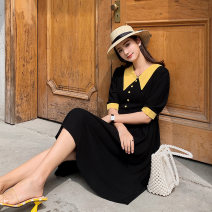 Dress Summer of 2019 black S,M,L,XL Mid length dress singleton  elbow sleeve commute V-neck High waist Solid color Single breasted A-line skirt routine Others 25-29 years old Type A Other / other Retro Pleats, buttons