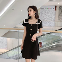 Dress Summer of 2019 Apricot, blue, black S,M,L,XL Middle-skirt singleton  Short sleeve commute square neck High waist other zipper A-line skirt routine Others Type A Korean version Button