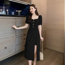 Dress Summer 2020 Apricot, black S,M,L,XL Mid length dress singleton  Short sleeve commute square neck High waist Solid color Socket puff sleeve Type A Korean version Button, button