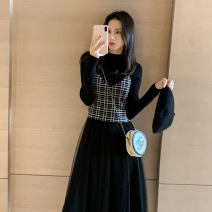 Dress Autumn 2020 S,M,L,XL,2XL Mid length dress Two piece set Long sleeves commute Half high collar High waist Socket A-line skirt routine Type A Korean version Splicing