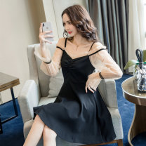 Dress Autumn of 2019 black S,M,L,XL,2XL Short skirt singleton  Long sleeves commute One word collar High waist Solid color zipper A-line skirt bishop sleeve Others Type A Korean version Stitching, bead nailing, mesh