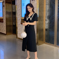 Dress Summer of 2019 black S,M,L,XL Mid length dress singleton  Short sleeve commute V-neck High waist Solid color zipper A-line skirt routine Others Type A Other / other Retro Bowknot, lace, stitching, open back, three-dimensional decoration, bandage, button