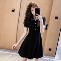 Dress Summer 2020 black S,M,L,XL Short skirt singleton  Short sleeve commute Polo collar High waist Solid color zipper A-line skirt routine Others 25-29 years old Type A Retro Splicing