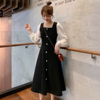 Dress Autumn of 2019 black S,M,L,XL,2XL Mid length dress singleton  Long sleeves commute square neck High waist Solid color Socket A-line skirt other Others Type A Other / other Korean version Button, button