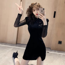 Dress Autumn of 2019 black S,M,L,XL Short skirt singleton  Long sleeves commute stand collar High waist Solid color Socket One pace skirt routine Others 18-24 years old Type H Other / other Retro Splicing, mesh corduroy