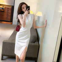 Dress Summer 2021 white S,M,L Mid length dress singleton  Sleeveless commute V-neck High waist Solid color zipper One pace skirt other Others Type A Korean version Stitching, lace