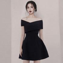 Dress Summer 2020 black S,M,L,XL Short skirt singleton  commute One word collar High waist Solid color zipper A-line skirt Oblique shoulder Type A Korean version Open back, stitching, zipper