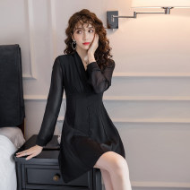 Dress Autumn of 2019 black S,M,L,XL Middle-skirt singleton  Long sleeves commute V-neck High waist Solid color zipper A-line skirt routine Type A Other / other Korean version