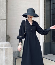 Dress Autumn of 2019 S,M,L,XL longuette singleton  Long sleeves commute V-neck High waist Solid color zipper A-line skirt bishop sleeve Others Type A Retro