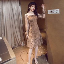 Dress Autumn of 2019 Picture color S,M,L,XL Mid length dress singleton  Long sleeves commute square neck High waist Dot Socket Ruffle Skirt puff sleeve Others 18-24 years old Type A Retro