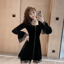 Dress Autumn of 2019 black S,M,L,XL Middle-skirt singleton  Long sleeves commute square neck High waist Solid color zipper A-line skirt pagoda sleeve Others Type A Retro Stitching, lace