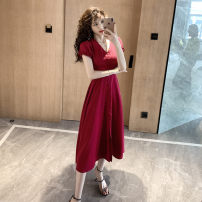 Dress Summer 2020 Red, black S,M,L,XL Mid length dress singleton  Short sleeve commute V-neck High waist Solid color zipper Big swing puff sleeve Others Type A Retro