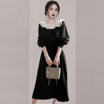 Dress Autumn 2020 black S,M,L,XL,2XL Mid length dress singleton  three quarter sleeve commute Doll Collar High waist Solid color zipper A-line skirt bishop sleeve Others Type A Retro Panel, button, mesh