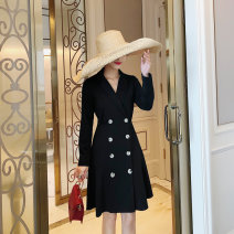 Dress Autumn of 2019 black S,M,L,XL Middle-skirt singleton  Long sleeves commute tailored collar High waist Solid color Socket A-line skirt routine Others 25-29 years old Type A Retro Button