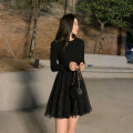Dress Autumn 2020 Apricot, black S,M,L,XL Middle-skirt singleton  Long sleeves commute Crew neck High waist Solid color Socket Big swing routine Others Type A Korean version Stitching, mesh, sequins
