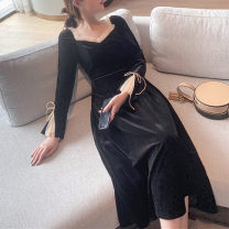 Dress Winter of 2019 black S,M,L,XL Mid length dress singleton  Long sleeves commute V-neck High waist Solid color Socket Big swing pagoda sleeve Others Type A Retro