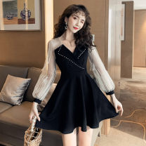 Dress Autumn of 2019 black S,M,L,XL Short skirt singleton  Long sleeves commute V-neck High waist Solid color zipper A-line skirt routine Others Type A Other / other Korean version Embroidery, stitching, mesh