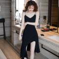 Dress Summer 2020 black S,M,L,XL Mid length dress singleton  Sleeveless commute V-neck High waist Solid color Socket Irregular skirt camisole Type A Retro