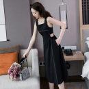 Dress Summer 2021 black S,M,L,XL Mid length dress singleton  Sleeveless commute Crew neck High waist Solid color zipper A-line skirt other Others Type A Retro zipper
