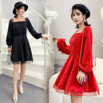 Dress Autumn of 2018 Red, black S,M,L,XL Short skirt singleton  Long sleeves commute square neck High waist Solid color zipper A-line skirt bishop sleeve Others 18-24 years old Type A Korean version Stitching, mesh, zipper corduroy