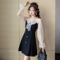 Dress Autumn 2020 black S,M,L,XL,2XL Short skirt singleton  Long sleeves commute other High waist zipper A-line skirt pagoda sleeve Others Type A Bowknot, stitching, Sequin, button, mesh