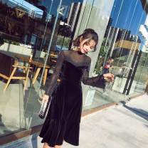 Dress Spring of 2018 black S,M,L,XL,2XL Middle-skirt singleton  Long sleeves commute other High waist zipper A-line skirt routine Others Type A Other / other Korean version Stitching, mesh, zipper, lace
