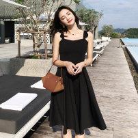 Dress Summer of 2018 black S,M,L,XL Middle-skirt singleton  Sleeveless commute High waist Solid color Socket A-line skirt camisole Other / other Korean version Open back, zipper