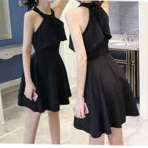 Dress Summer of 2018 Red, black S,M,L,XL Short skirt singleton  Short sleeve commute Crew neck High waist Solid color zipper A-line skirt Hanging neck style 18-24 years old Other / other Korean version Cut out, open back, zipper Chiffon cotton