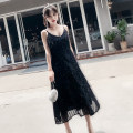 Dress Summer of 2018 black S,M,L,XL longuette singleton  Sleeveless commute V-neck High waist Solid color zipper Big swing camisole Type A Other / other Korean version Splicing, three-dimensional decoration