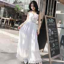 Casual pants White, black S,M,L,XL Spring 2020 trousers Jumpsuit High waist Sweet 18-24 years old FaUQy Ezrin Bohemia