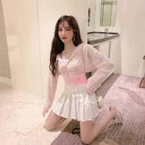 Dress Spring 2021 White top + small sling + black skirt, pink top + small sling + white skirt S,M,L Short skirt Three piece set Long sleeves commute V-neck High waist Solid color Socket routine 18-24 years old Type A lady polyester fiber