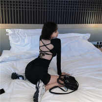 Dress Autumn 2020 black Average size Short skirt singleton  Long sleeves commute square neck High waist Solid color Socket Big swing routine Others 18-24 years old Type A Ezrin Korean version backless