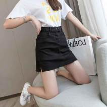 skirt Summer of 2019 S,M,L,XL,2XL Short skirt commute High waist A-line skirt Solid color Type A 25-29 years old 71% (inclusive) - 80% (inclusive) other cotton Korean version