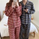 Pajamas / housewear set lovers Other / other Average size Red check women's, red check men's, blue check women's, blue check men's cotton Long sleeves Simplicity pajamas spring routine Shirt collar lattice trousers double-breasted youth 2 pieces rubber string 21% (inclusive) - 40% (inclusive) 0315g