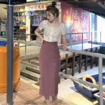 Fashion suit Summer 2021 S,M,L Lace top, purple skirt 18-25 years old 0315g 96% and above polyester fiber