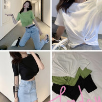 T-shirt White, black, green Average size Summer of 2019 Short sleeve Crew neck Straight cylinder have cash less than that is registered in the accounts routine commute cotton 30% and below 18-24 years old originality