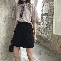 skirt Summer of 2019 S,M,L Black, apricot Short skirt commute High waist A-line skirt Solid color Type A 18-24 years old 91% (inclusive) - 95% (inclusive) polyester fiber Retro