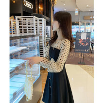 Dress Summer 2020 black S,M,L Mid length dress Fake two pieces Long sleeves commute Crew neck High waist Solid color Socket A-line skirt bishop sleeve Others 25-29 years old Type A Bestbao / bestbao Korean version Splicing 91% (inclusive) - 95% (inclusive) knitting polyester fiber