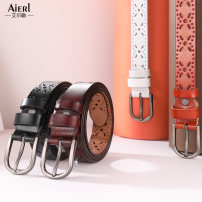 Belt / belt / chain Double skin leather Camel white red coffee red brown black female belt Versatile Single loop Middle aged youth Pin buckle Glossy surface printing 2.8cm alloy Bare cut flowers Eller A37 95cm 100cm 105cm 110cm 115cm Summer of 2019 yes