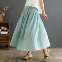 skirt Summer 2021 Average size White, light blue, dark green, yellow, off white longuette Retro Natural waist A-line skirt Solid color Type A 30-34 years old 31% (inclusive) - 50% (inclusive) other hemp Pleats, pockets, stitching