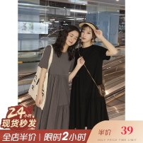 Nursing clothes M,L,XL,2XL Other / other Socket summer Short sleeve Medium length Versatile Dress Solid color Lift up cotton