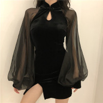 Dress Spring 2021 black Xs, s, m, l, XL, 2XL, 3XL, 4XL, contact customer service to order other sizes Short skirt Long sleeves Half high collar Socket bishop sleeve