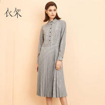 Dress Autumn of 2019 Agate grey S M L XL Mid length dress Long sleeves commute Polo collar High waist lattice Single breasted Pleated skirt shirt sleeve 35-39 years old Sedurre attrarre / hanger Retro YJ1908D1183 51% (inclusive) - 70% (inclusive) polyester fiber Polyester 63% viscose 37%