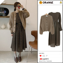 Fashion suit Winter 2020 S,M,L,XL One size pink sweater, one size brown sweater, one size dress 18-25 years old