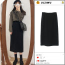 skirt Winter 2020 XS,S,M,L,XL black Mid length dress Versatile High waist Little black dress Solid color Type H 18-24 years old 31% (inclusive) - 50% (inclusive) brocade Other / other acrylic fibres Thread, zipper