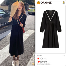 Dress Winter 2020 black Average size Mid length dress singleton  Long sleeves commute V-neck Elastic waist Solid color zipper A-line skirt other Others 18-24 years old Type A Korean version Lotus edge, hollow, Auricularia auricula, Gouhua, hollow, splicing