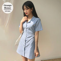 Dress Summer 2020 Apricot, blue S,M,L,XL Short skirt singleton  Short sleeve Sweet tailored collar High waist stripe Single breasted A-line skirt shirt sleeve Others 18-24 years old Type A Lace up, button college