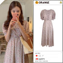 Dress Summer 2020 Picture color S,M,L,XL Mid length dress singleton  Short sleeve commute Crew neck High waist Broken flowers Single breasted A-line skirt puff sleeve Others 18-24 years old Type A Korean version Print, button Chiffon